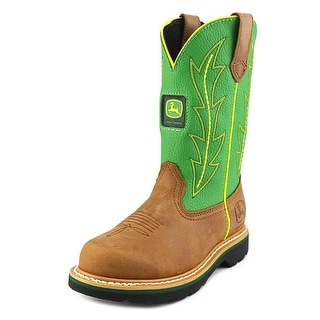 John Deere Lad Youth Round Toe Leather Green Western Boot