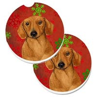 Dachshund Red & Green Snowflakes Holiday Christmas Set of 2 Cup