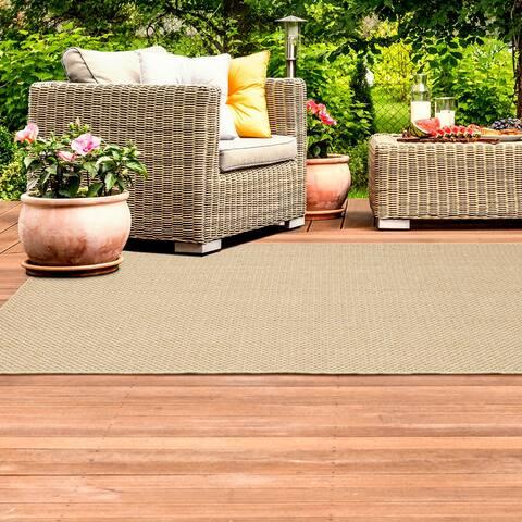 Veranda Woven Solid Sand Indoor-Outdoor Area Rug