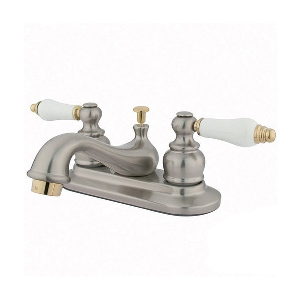 Kingston Brass GKB60.B Restoration 1.2 GPM Centerset Bathroom Faucet with Brass Pop-Up Drain Assembly and Porcelain Handles