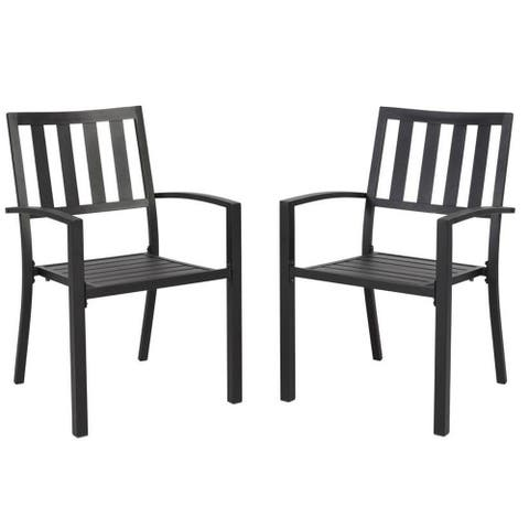 Black 2-Pieces Stackable Galvanized Steel Anti-Rust Dining Chairs