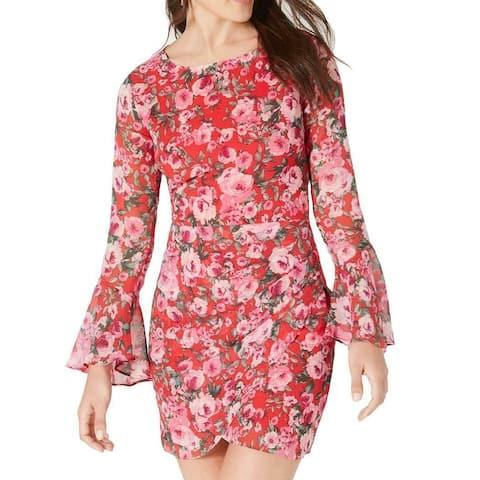 B. Darlin Red Size 2 Junior Sheath Dress Bell Sleeve Floral Open Back