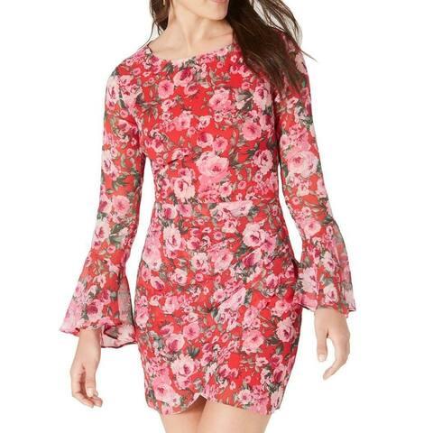 B. Darlin Red Size 2 Junior Sheath Dress Floral Bell Sleeve Open Back