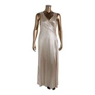 Lauren Ralph Lauren Womens Akilea Evening Dress Metallic Surplice