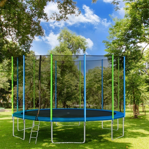 Merax Round Outdoor Recreational 16FT Trampoline with Safety Enclosure Net, Ladder and 12 Wind Stakes. Opens flyout.