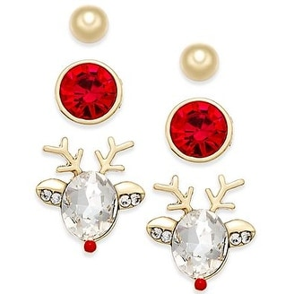 Shop Macys Gold Tone 3 Pc Reindeer Stud Earring Set Red Free