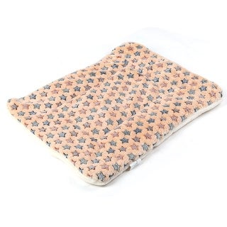 Dog Flannel Rectangle Shaped Star Printed Mat Cushion Bed Coffee Color Size M