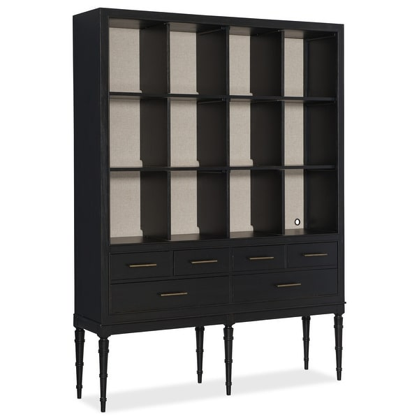 "Hooker Furniture 500-50-980 63"" Wide 12 Shelf Rubberwood Display Cabinet - Black"