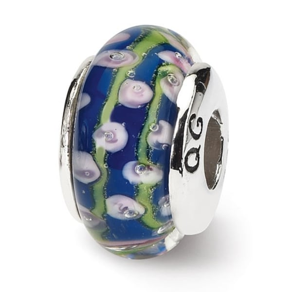 Sterling Silver Reflections Blue Floral Hand-blown Glass Bead (4mm Diameter Hole)