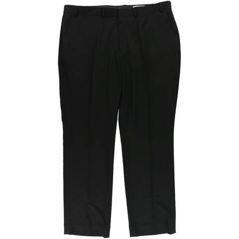 Kenneth Cole Mens Solid Dress Pants Slacks, Black, 46W x 40L - 46W x 40L