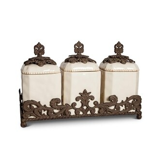 Set of 3 Clear and Brown Acanthus Leaf Base Square Crafted Canisters 19.5