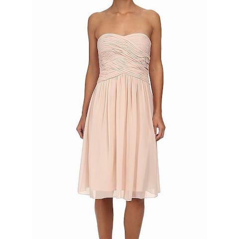 Donna Morgan Orange Womens Size 10 Strapless Anne Sheath Dress