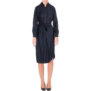 Lauren Ralph Lauren Womens Vonraja Shirtdress Denim Mid-Calf