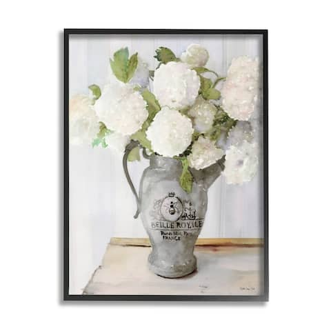 Stupell Industries White Hydrangea in French Country Pitcher Still Life Framed Wall Art - Multi-Color