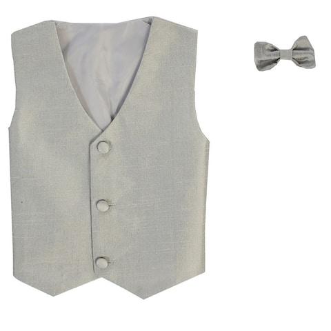 Baby Boys Silver Poly Silk Vest Bowtie Special Occasion Set 3-24M