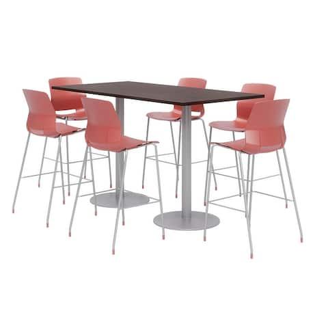 Olio Designs 6' x 3' Bistro Table Set, 6 Lola Barstools, Espresso