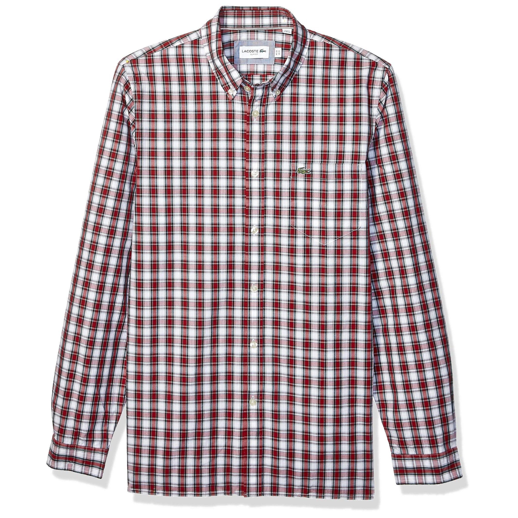 Lacoste Mens Casual Shirt Burgundy Red