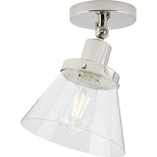 Link to Hinton Collection 1-Light Polished Nickel Clear Seeded Glass Vintage Flush Mount Ceiling Light - 8 in x 8 in x 10 in Similar Items in Flush Mount Lights