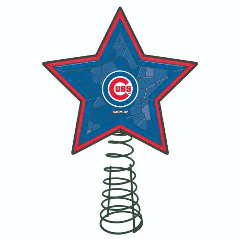 """10"""" Lighted Blue and Red Star MLB Chicago Cubs Christmas Tree Topper - N/A"""