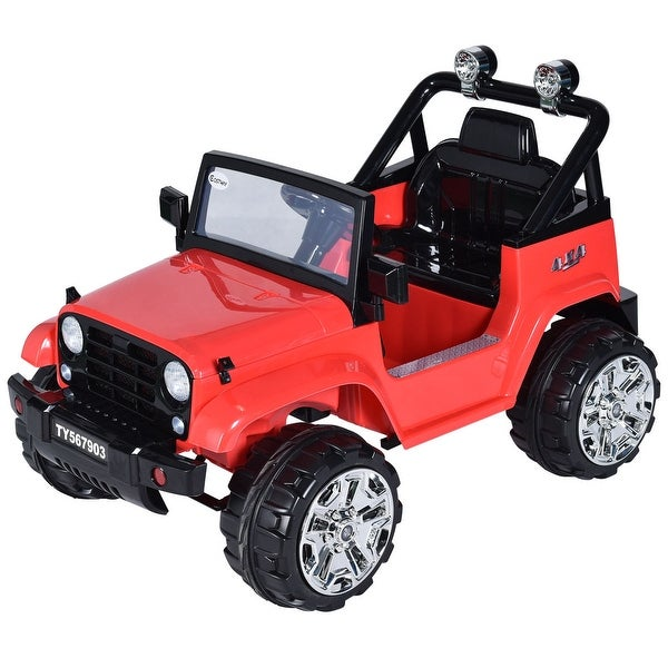 Costway 12V Kids Ride on Truck Jeep Car RC Remote Control w/ LED Lights Music MP3 Red