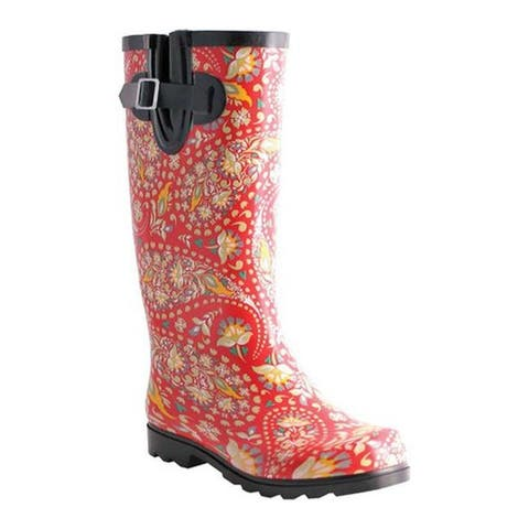 Nomad Women's Puddles Boot Red/Yellow Paisley