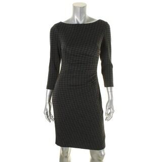 Lauren Ralph Lauren Womens Novinda Wear to Work Dress Ponte Houndstooth