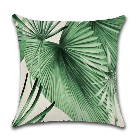 "Amazon tropical leaves in watercolor print decorative pillow cover for Couch or Sofa 18"" x 18"""