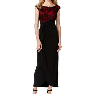 Connected Apparel NEW Black Red Women's 10 Side Ruched Sheath Dress