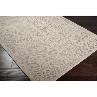 2' x 3' Rosette Leopard Chain Taupe Beige Wool Area Throw Rug