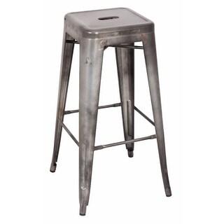 Metal Bar Stool (Set-2), Antiqued Silver