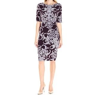 Connected Apparel NEW Purple Women's Size 10 Sheath Scroll Print Dress