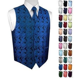 Men's Formal Tuxedo Vest, Tie & Pocket Square Set