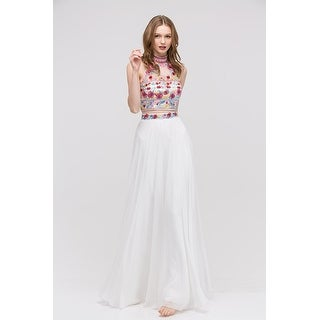 Embroidered Halter Two-Piece