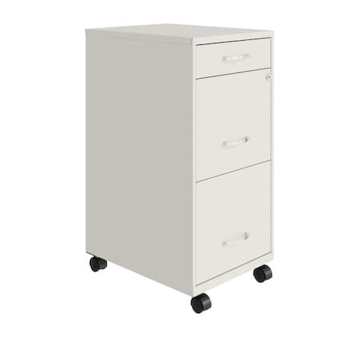 "Space Solutions 18"" Deep 3 Drawer Metal File Cabinet, Pearl White"