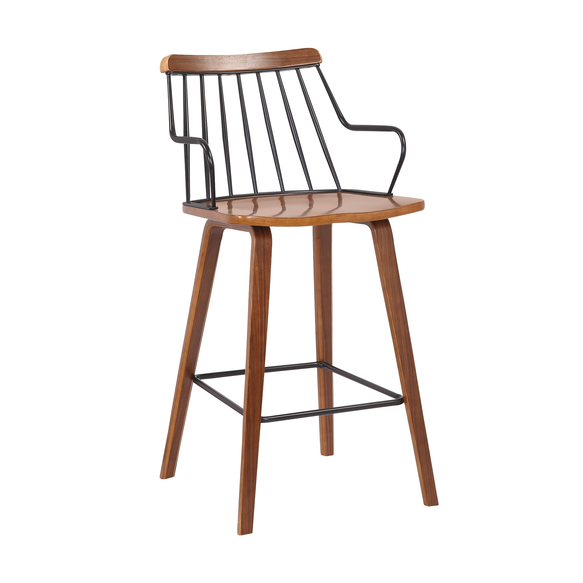 Image of: Shop Black Friday Deals On Micah Walnut And Metal Modern 26 Counter Height Bar Stool Overstock 32120108