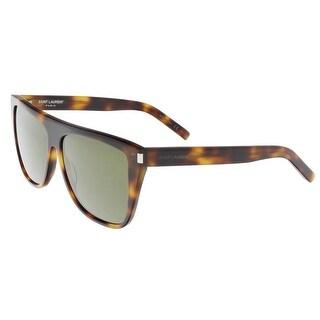 Saint Laurent SL 1-003 Havana Flat Top Rectangle Sunglasses