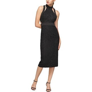 Fame and Partners Women's Lace Midi Casual Dress, Black, 6