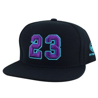 Player Jersey Number #23 Snapback Hat Cap x Air Jordan / Lebron - Black Purple Aqua