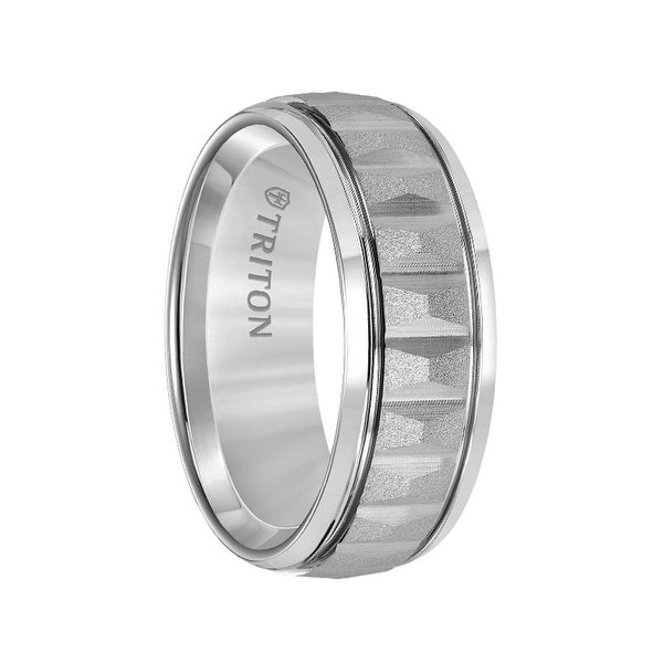 Grey Tungsten Soft Sand Finished Vertical Grooved Men's Wedding Ring with Polished Edges by Triton Rings - 8mm