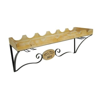 Wall Mounted Wood and Metal Wine and Stemware Rack