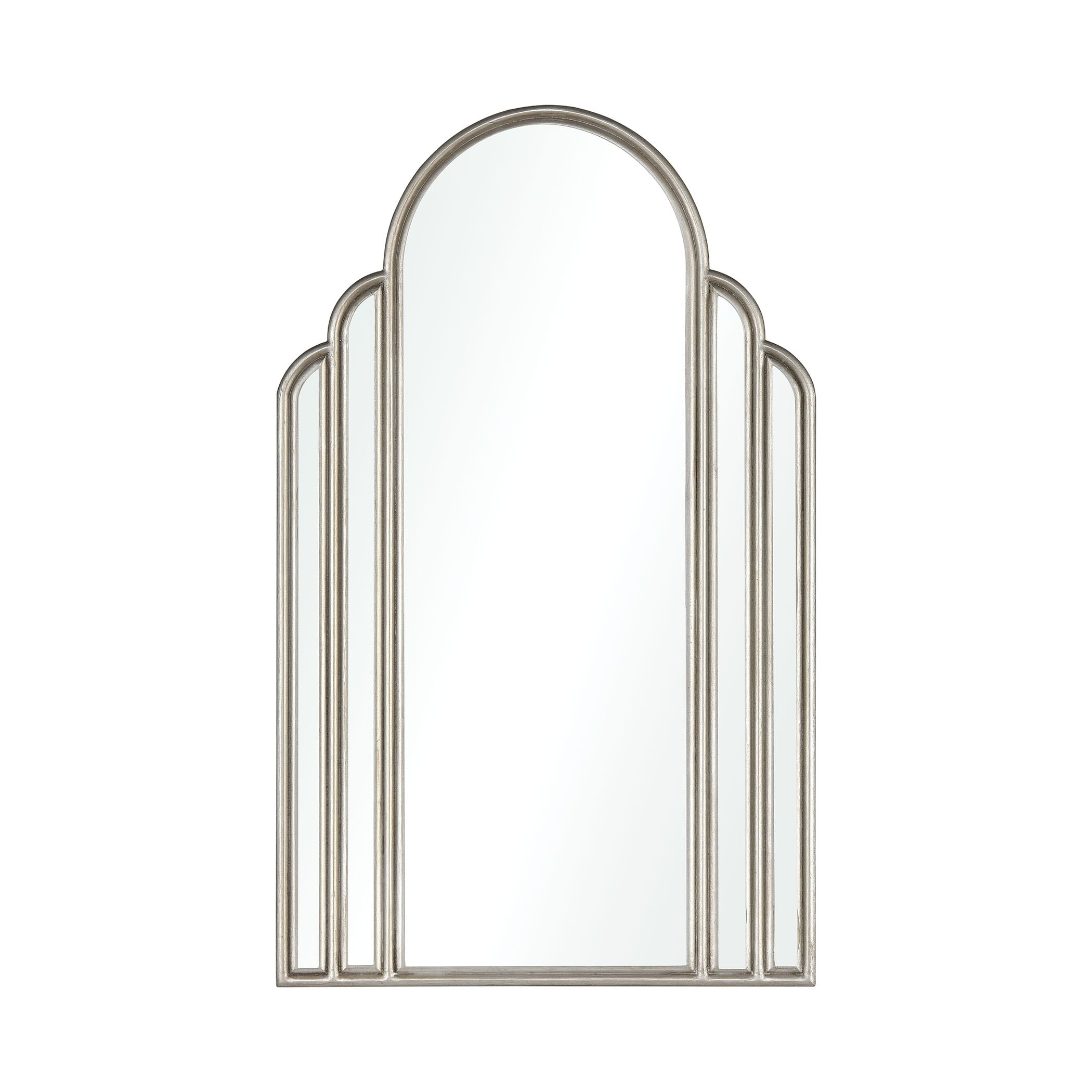 Silver Arch Shaped Wall Mirror Art Deco