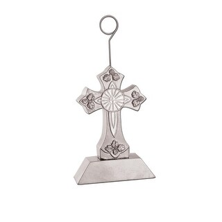 Pack of 6 Silver and White Cross Photo or Balloon Holder Party Decorations 6 oz.