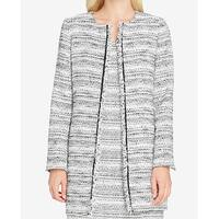 Tahari By ASL White Black Womens Size 4 Tweed Open Front Jacket
