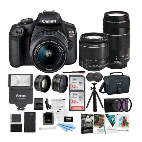 Canon EOS Rebel T7 DSLR Camera 18-55 & 75-300 Double Zoom Lens Bundle