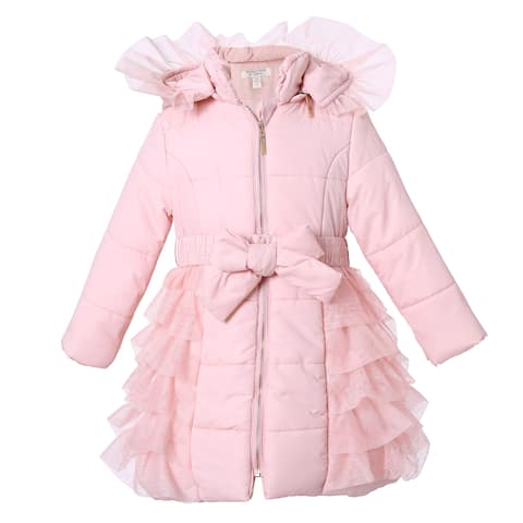 Richie House Girls' Padding Jacket with Ruffled Mesh