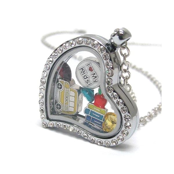 Heart Charm Locket with School Theme