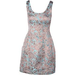 Aqua Womens Juniors Floral Print Metallic Party Dress