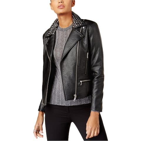 Michael Kors Womens Studded Faux-Leather Motorcycle Jacket
