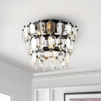 "SAFAVIEH Lighting Gorson Glam Crystal LED Flush Mount - 13"" W x 13"" L x 10"" H"