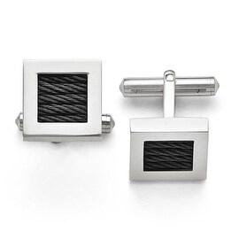 Chisel Titanium Polished Black IP Wire Cuff Links